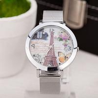 New 2014 Women Vintage Watches Ladies Eiffel Tower Flower Face Watch Wire belt Girl's wristwatches reloj