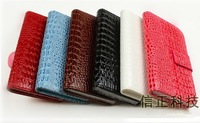 Crocodile Luxury PU Leather Flip Soft Credit Card Holder  Wallet Leather Case For LG Optimus L5 E612/E610 Free Shipping