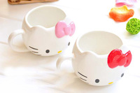 2014 NEW ARRIVAL Free Shipping Fashion Hello Kitty Cartoon Ceramic Coffee Mug Cup Lovely Two Color Pink and Red