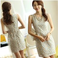 2014 new sheath OL style print women dress vest lace A-line above knee professional casual dress dresses Free shipping F.LYQ.145