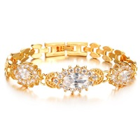 OPK JEWELRY 2014 top grade women's AAA Cubic Zircon Purple / White Crystal Bracelet 18K Gold Plated Luxury Romantic Style