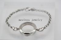 10pcs 18-19cm length plain magnetic stainless steel floating charm memory living 25mm glass locket  bracelet