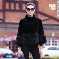 2014 Winter Fashion Genuine Merino Wool & Tuscany Wool Lamb Fur Women Natural Leather Short Coats Female Reversible Wear Jacket