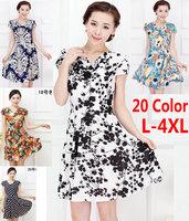 L-4XL ,Women Summer Dress New 2014 Fashion floral Knee-Length Milk Silk Print Dresses Plus Size Casual Dress   J0032