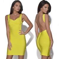 Plus Size XS-3XL Guaranteed 100% 2015 Summer New Fashion Women V-Neck Backless Slim Bandage Bodycon Sexy Club Party  Dresses