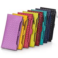 Fashion Woven Pattern  Zipper Wallet  Genuine Leather Women&Men's Clutch wallets Big capacity card holder Wallets Purses  J811
