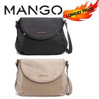 2014 New Mango/MNG Leather Nylon Summer Cover Shoulder Bag Beige Black color women messenger bags Women fashion clutch bag