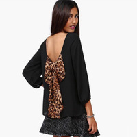 2014 New Autumn Chiffon Leopard Print Blouse Loose Racerback Backless Bow Pattern Casual Shirts Sexy Women's Top S M L XL XXL