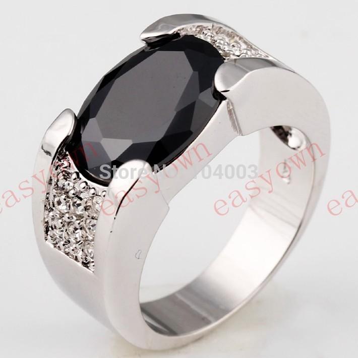 Black Sapphire White Gold Filled Ring Men's 10KT Finger Rings Anel Feminino Man 2014 Fashion Jewelry Size 9 /10/11/12 B0600-601(China (Mainland))