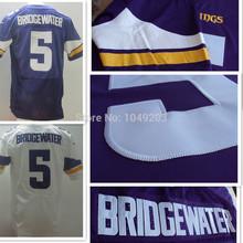 Peluche Bridgewater Jersey Elite cosido Blanco Purple Minnesota 2014 Drift Rookies Jerseys(China (Mainland))