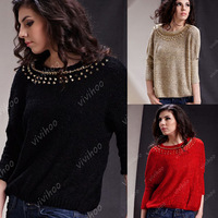 Mix Wholesale 5 Fashion Styles New O-neck Solid Color Casual Loose Women Lady Winter Kintted Pullover Knitwear Outwear Sweater