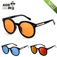 Fashion Brand New Super Black Big Round Sunglasses Women Retro Arrow Sun Glasses gafas de sol feminino with Orange mono lens