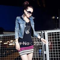 New 2014 Women Coats Denim Diamond Jackets Sexy Club Casual Small Short Lapel Femininos Washed Denim Cardigans 3329