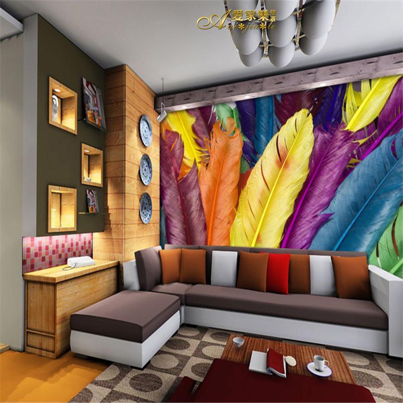 Custom Sizes Large 3d Mural Wallpaper Multicolour Feather