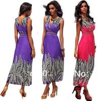 New  3D Print Deep V Neck Low Cut Sext Plus Size Women clothing Sexy Long Maxi Summer Dress 2014