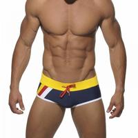 Newest men Swim trunks male slim bikini swimwear men's dark blue swim shorts patchwork mens swim suit man low rise board shorts