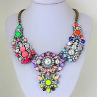 New Fashion Luxury multicolor Vintage Necklace Shourouk Chain Chunky Choker Statement Necklace & Pendant Women KK-SC523
