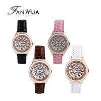 New 2014 Fashion Designer Brown Pink  Black  White Leather Watchband Acrylic Quartz Wrist Watch For Women
