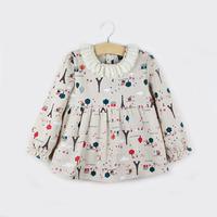 Children Clothing Spring and Summer Girls Gauze Collar  Cartoon Eiffel Towel Print long-sleeved Cotton and Linen Dress Shirt