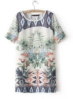 2014 fashion new women's Spanish tropical flowers printed shift chiffon Short Sleeve o-neck national style Print Dress#C0423