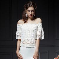 YIGELILA 7206 New Customized Holow Out Lantern Sleeve Slash Neck Women Lace Shirt Free Shipping