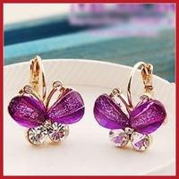 cooldeal Fashion Sweet Butterfly Resin Crystal Rhinestone Ear Studs Earrings Jewelry 24 hours dispatch