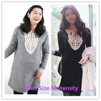 Free shipping new Korean fashion Autumn and winter loose plus size Crochet Collar long sleeve clothes for pregnant women 0221