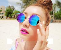 New 2014 Sunglass Vintage Round Unisex Sun glasses Metal Frame Mirror Lens Love Retro Sunglasses Unisex Shades Punk Glasse