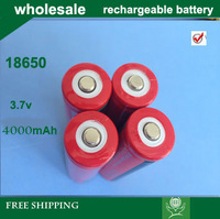 hot sale+Free Shipping40pieces/lot ultrafire RED 18650 3.7V Rechargeable Battery 4000mAh for LED Flashlight, Laser pen