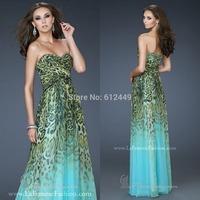 Fashion 2014 New  A-Line  Luxury Leopard dress Floor Length Chiffon Long Evening Dress Sweetheart Prom Dresses