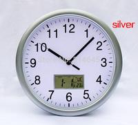 M6 12inch 30*30*4.5cm with date-Calendar display digital LCD wall clock rectangular metal led light digital wall clock
