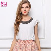 SZ031 2015 Fashion Women's White Pink Summer Blouse Loose Beading Chiffon Shirts Plus Size Casual Tops Blusas Femininas S&Z