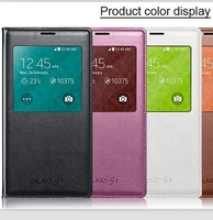 S View Flip Cover Gold Case For Samsung Galaxy S5 i9600 , Smart Dormancy, Automatic Power On/Off Display