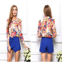 2014 Hot!! Women's Spring Summer Blouses Vintage Floral Print Long Sleeve Shirts With High Quality Tops Blusas Femininas