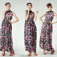 Vintage Expansion Bottom Full Dress Sleeveless One-piece Dress Elegant Flower Printed Laciness Dress For Women 8553#