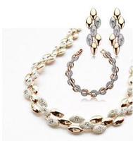 2014 new  Wholesale 18K Gold Plated rhinestone austrian Crystal Jewelry Sets fashion jewelry