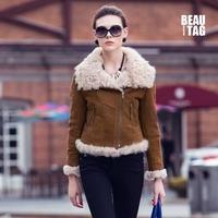 2014 Winter Women Genuine Lamb Fur & Nubuck Leather Short Jackets Female Lamb Fur Liner and Collar Slim Coats Biker Style Warm