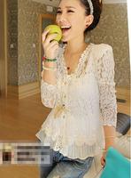 Fall New 2014 Skinny Shoulder Pad Precious Mosaic Lace Shirt Cardigan Sunscreen Shirt Air-Conditioning 1Pcs