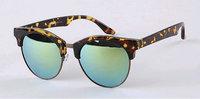 Free dropshipping Unisex Classic Women's Round Retro Sunglasses Sports Half Rimless w/ Fresh Colorful Mirror Glasses Frame sg211