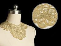 5pc 33x25cm Golden Embroidery Neckline Lace Applique Water Soluable Lace Trim Collar Dentelle Guipure Garment Accessories AC0170