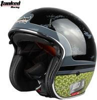 Tanked Racing Jet helmet with Internal Sunglasses Motorcycle Helmet Chopper helmet