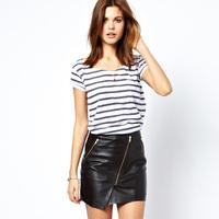 2014 NEW ARRIVAL Free Shipping Women Black PU Leather Zipper Decoration Asymmetric Skirt Mini Skirt