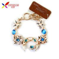 2014 fashionable designer gold alloy cat eye stone enamel moon sun charm crystal gift bracelet & bangles for women bijoux
