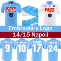 HAMSIK HIGUAIN 14/15 napoli soccer jersey 2015 Naples home blue third white Maglia Gara HIGUAIN CALLEJON INSIGNE football shirt