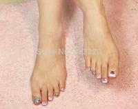 44pcs/Sheet x 3D New Style  Waterproof  Translucent Feet Nails Art Fingertip Decoration Beauty Sticker Free Shipping