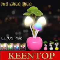 EU US Plug Electric Induction Dream Mushroom Fungus Lamp,3Led Nightlight,Mushroom Lamp Home Decor Led RGB Novelty Night light