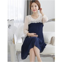 Sale Roupa Gestante Quality Clothes for Pregnant Women Dresses Patchwork Lace Chiffon Maternity Pleated Dress Summer 2014