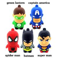 2015 Cute Avengers cartoon model 1GB - 32GB Enough USB disk Flash memory stick Spider Bat Super Man Dwyane Wade America