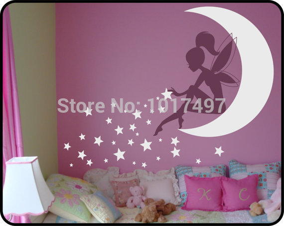 High quality Large size vinyl wall stickers fairy , kids wall stickers fairy ,Pixie Dust Stars vinyl decals free shipping K2065(China (Mainland))