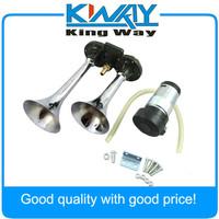 CHROME DUAL TRUMPET AIR HORN KIT Includes 12v. Compressor SUPER LOUD FOR CAR SUV
